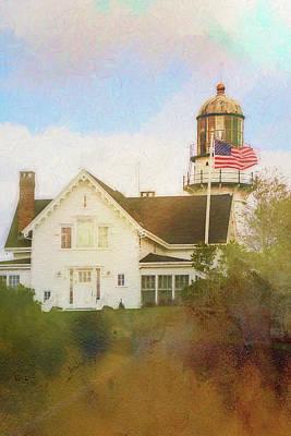 Maine Coast Mixed Media - Cape Elizabeth Lighthouse 2 by Terry Davis