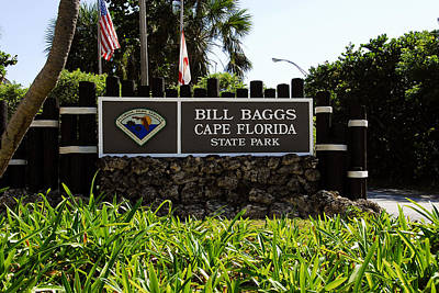 Bill Baggs Photograph - Cape Florida Entrance Sign by David Lee Thompson