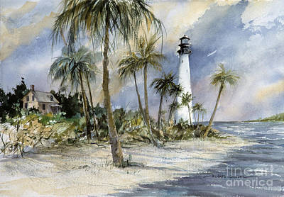 Cape Florida Lighthouse Painting - Key Biscayne Cape Florida Lighthouse by Richard Jansen