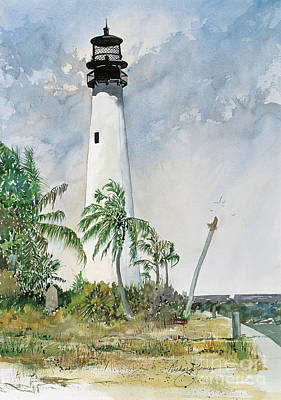 Cape Florida Lighthouse Painting - Cape Florida by Richard Jansen