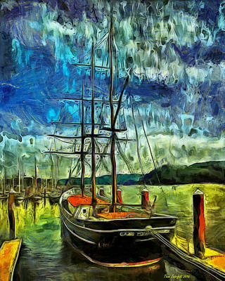 Print featuring the photograph Cape Foulweather Tall Ship by Thom Zehrfeld