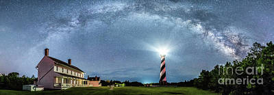 Photograph - Cape Hatteras Light House Milky Way Panoramic by Robert Loe