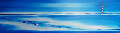 Eastcoast Lighthouses Painting - Cape Hatteras Lighthouse Of North Carolina. A Study In Blue  by Russell Collins