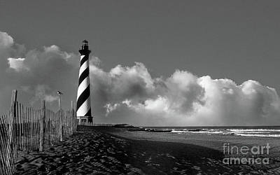 Moody Trees - Cape Hatteras Lighthouse In Nc Black And White by Skip Willits