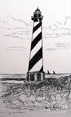 Art Print featuring the drawing Cape Hatteras Lighthouse Nc by Julie Brugh Riffey