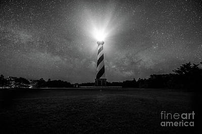 Photograph - Cape Hatteras Light And The Milky Way Galaxy by Robert Loe