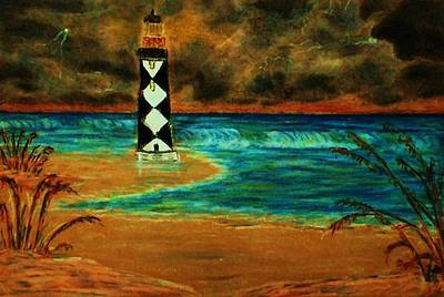 Cape Lookout Light House Art Print by Jeanette Stewart