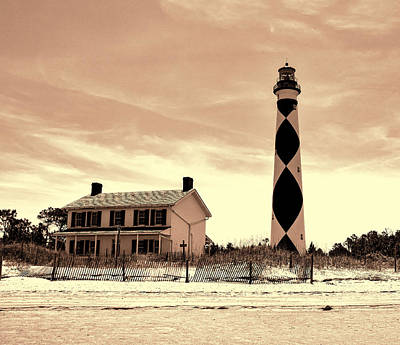 Cape Lookout Lighthouse In Sepia Art Print by Phyllis Taylor