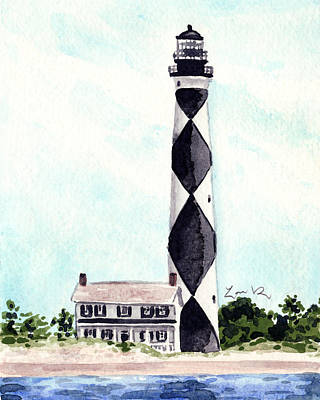 North Sea Painting - Cape Lookout Lighthouse Outer Banks North Carolina by Laura Row