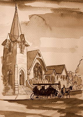 Cape May Carriage Sepia Art Print by George Lucas