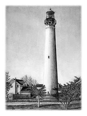 Lighthouse Drawing - Cape May Lighthouse by Greg DiNapoli