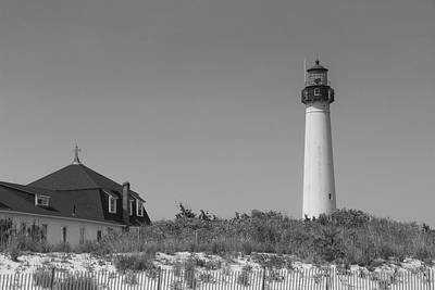 Photograph - Cape May Lighthouse In Black And White by Teresa Wilson