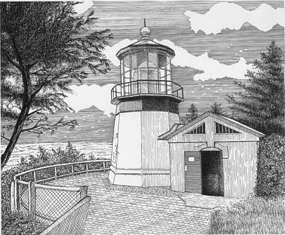 Drawing - Cape Meares Lighthouse by Lawrence Tripoli