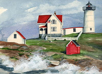 Painting - Cape Neddic Lighthouse  by Nancy Patterson