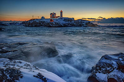 Lighthouse Maine Photograph - Cape Neddick In The Cold by Rick Berk