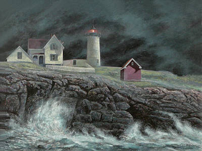 Nubble Lighthouse Painting - Cape Neddick Light by Paul Breeden
