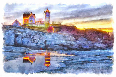Photograph - Cape Neddick Light Watercolor by Betty Denise
