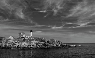 Photograph - Cape Neddick Lighthouse Bw by Rick Mosher