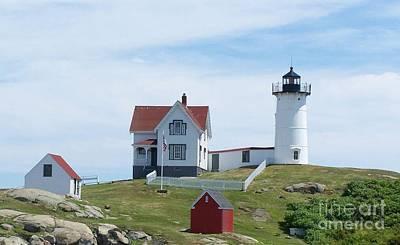 Maine Seacoast Painting - Cape Neddick Lighthouse by Judith Monette