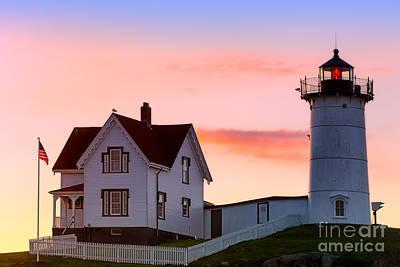 Cape Neddick Lighthouse Sunrise Art Print by Jerry Fornarotto