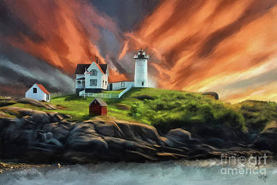 Art Print featuring the digital art Cape Neddick Nubble Lighthouse by Lois Bryan