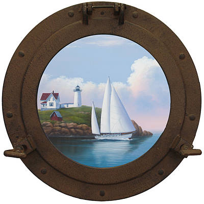Nubble Lighthouse Painting - Cape Neddick Or Nubble Light by Kenneth F Aunchman