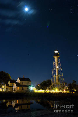 Photograph - Cape San Blas Lighthouse And Moon At Twilight by Ben Sellars