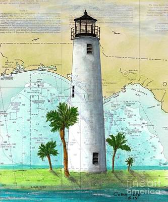Cape Florida Lighthouse Painting - Cape St George Lighthouse Fl Nautical Chart Map Art by Cathy Peek