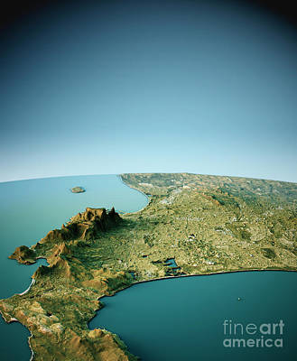 South Africa Digital Art - Cape Town 3d View South-north Natural Color by Frank Ramspott