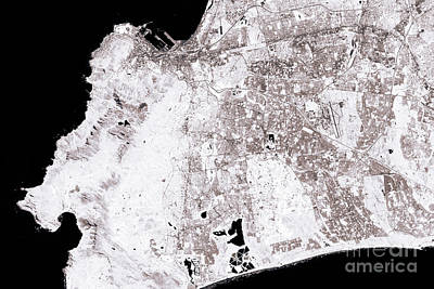 Cape Town Abstract City Map Black And White Art Print