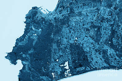 Cape Town Abstract City Map Top View Dark Art Print by Frank Ramspott