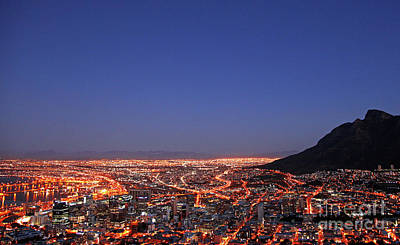 Photograph - Cape Town At Night, South Africa by Wibke W