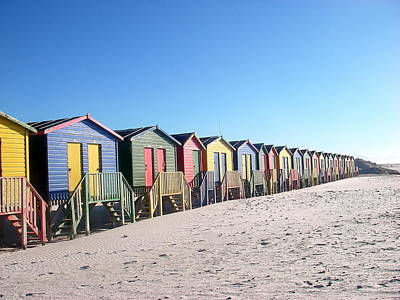 Cape Town Beachhuts Art Print by Linda Russell