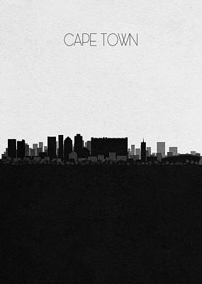 Drawing - Cape Town Cityscape Art by Inspirowl Design