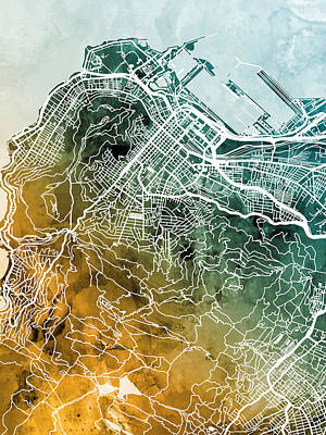 Digital Art - Cape Town South Africa City Street Map by Michael Tompsett