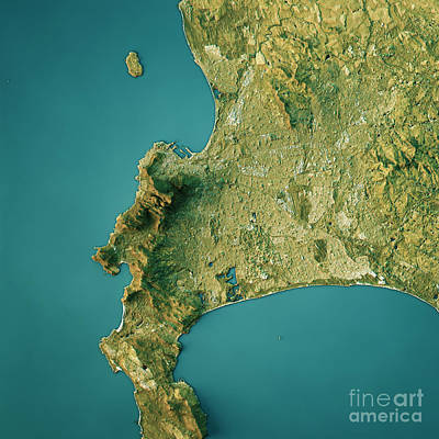 Cape Town Topographic Map Natural Color Top View Art Print