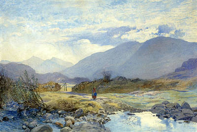 North Wales Drawing - Capel Curig With Snowdon And The Glyders In The Distance. North Wales by Alfred William Hunt