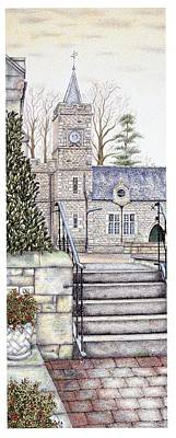 Tower Drawing - Capernwray Hall Clock  Lancashire by Sandra Moore