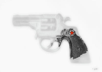 Photograph - Capgun Artifact Monocrhome Print With Red Star Splash by Tony Grider