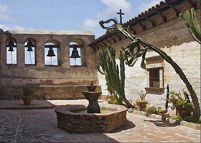 Digital Art - Capistrano Mission Courtyard by Sharon Foster