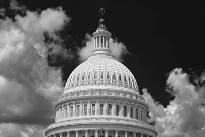 Washington D.c Photograph - Capital Dome Washington D C  B W by Steve Gadomski
