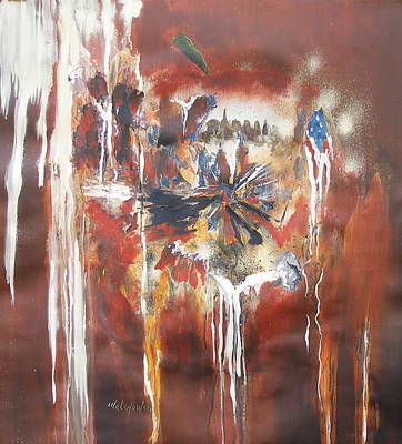 Abstract American Flag Painting - Capital Of The World by Miroslaw  Chelchowski