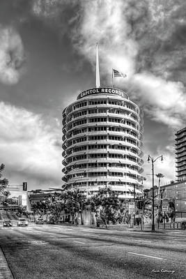 Photograph - Capital Records Tower B W Hollywood Landmark Building Los Angeles California Art by Reid Callaway
