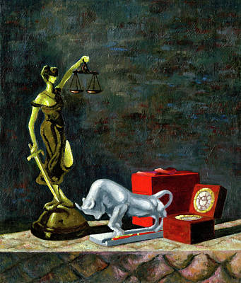 Lady Justice Painting - Capitalism by Richard Votch