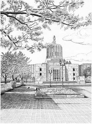 Drawing - Capitol Building - Salem - Oregon by Lawrence Tripoli