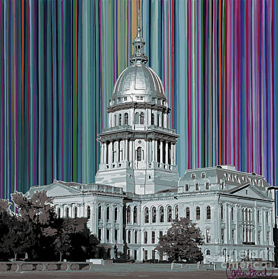 Capitol Building Mixed Media - Capitol Building Springfield Il by Carla Bank