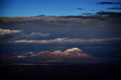 Art Print featuring the photograph Capitol Butte In Sedona With Snow by Ron Chilston