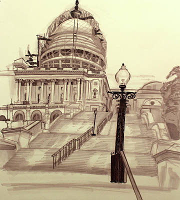 Capitol Building Drawing - Capitol  by Catherine X