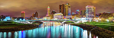Photograph - Capitol City Panoramic Colors - Columbus Ohio Skyline by Gregory Ballos