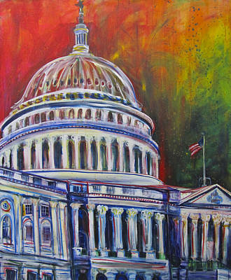 Capitol Building Painting - Capitol Closing by Mary Gallagher-Stout
